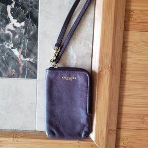 Coach Purple Wristlet Phone Case Wallet Camera